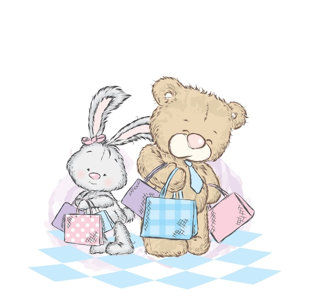 Cute bunny and teddy bear with purchases