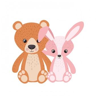 Cute bunny and teddy bear