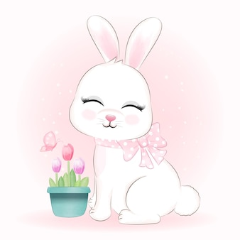 Cute bunny and tulip flowers in flower pot with butterfly