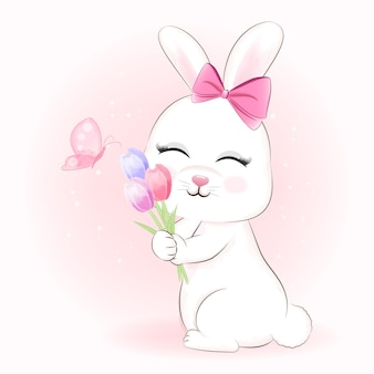 Cute bunny and tulip flowers with butterfly illustration