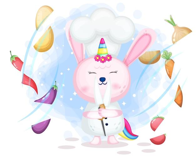 귀여운 토끼 유니콘 요리사가 기술 만화 캐릭터를 보여줍니다.