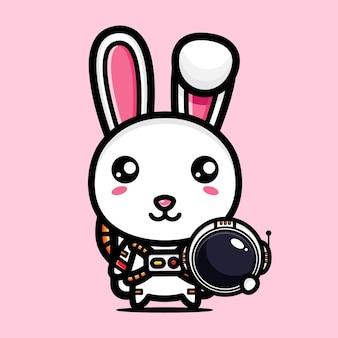 우주 비행사 의상을 입고 귀여운 토끼