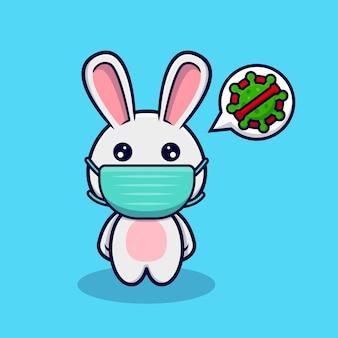 ウイルス予防のためのマスクを身に着けているかわいいウサギ