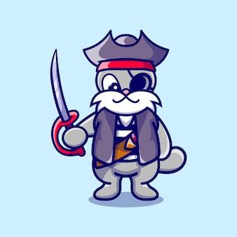 海賊のハロウィーンの衣装を着ているかわいいウサギ