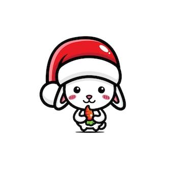 산타 모자를 쓰고 귀여운 토끼