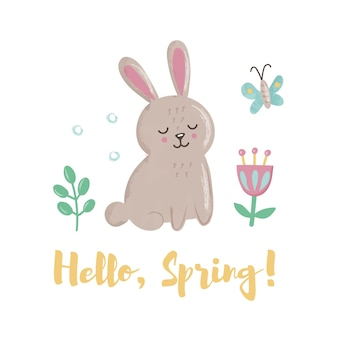 Cute bunny with butterfly, leaves and flowers. concept with lettering
