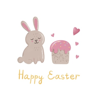 Cute bunny with cake, hearts and lettering. concept for easter