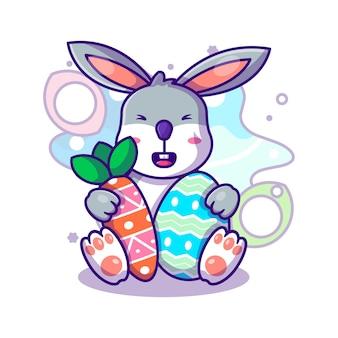 Милый кролик с морковью и яйцом на пасху вектор значок иллюстрации