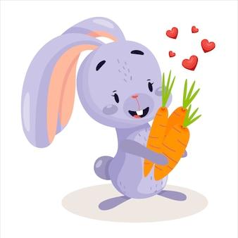 ニンジンと心のかわいいウサギ。