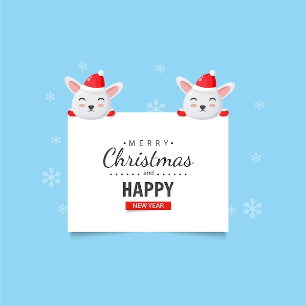 Cute bunny with christmas and new year wishes