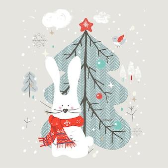 Милый кролик с елкой