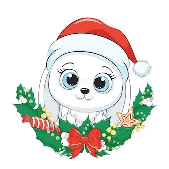クリスマスリースとかわいいウサギ。