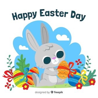 Cute bunny with colorful eggs easter day background