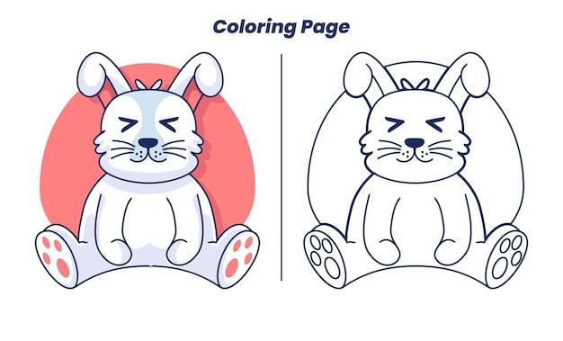 子供に適した着色ページを持つかわいいウサギ
