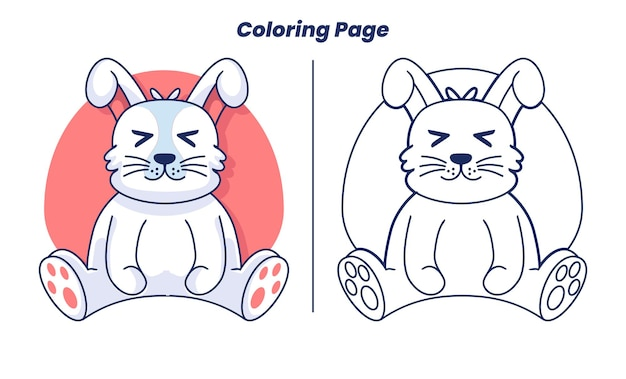 Cute bunny with coloring pages suitable for kids