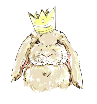 Cute bunny with a crown illustration.