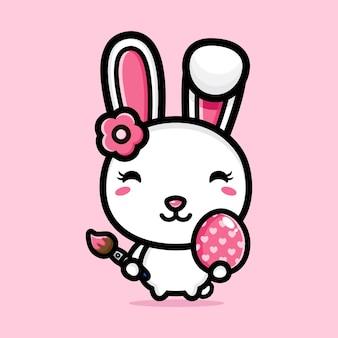 장식 부활절 달걀과 귀여운 토끼