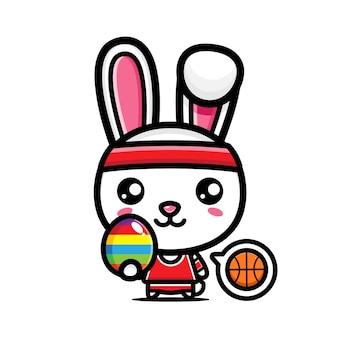 装飾的な卵とかわいいウサギ