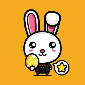 장식 달걀과 귀여운 토끼