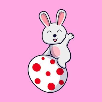 イースターの日の装飾的な卵とかわいいウサギ