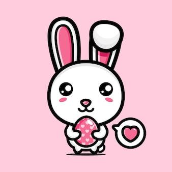 장식 달걀으로 귀여운 토끼 행복 한 부활절 날