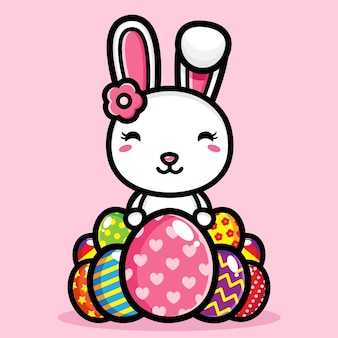 Cute bunny with decorative eggs