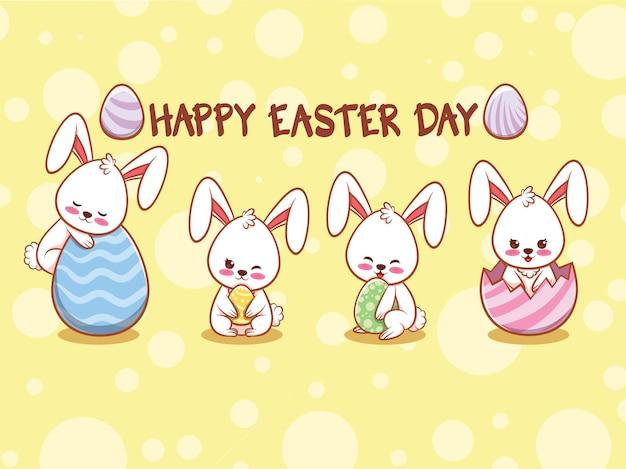 Милый кролик с украшенными пасхальными яйцами. мультипликационный персонаж иллюстрации счастливой пасхи день концепции.