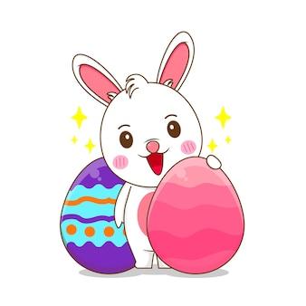 Милый зайчик с пасхальными яйцами