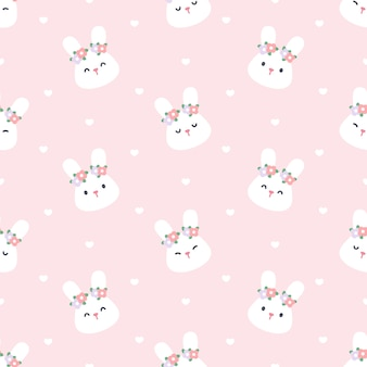 Cute bunny with flower crown seamless pattern