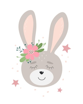 Cute bunny with flower and stars hand drawn flat   illustration. childish design.