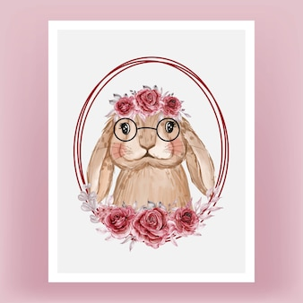 Cute bunny with flower wreath watercolor