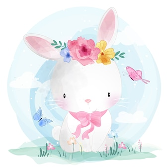 Cute bunny with flower