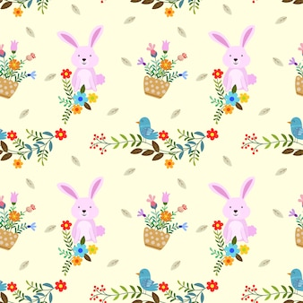 Cute bunny with flowers and bird seamless pattern.