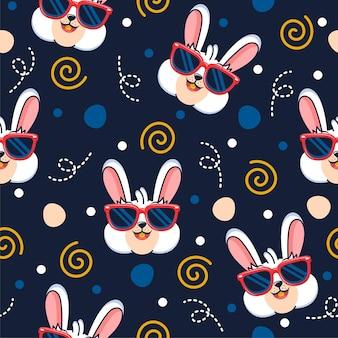 メガネパターンイラストとかわいいウサギ