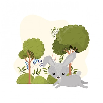 Cute bunny with landscape