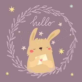 Cute bunny with letter