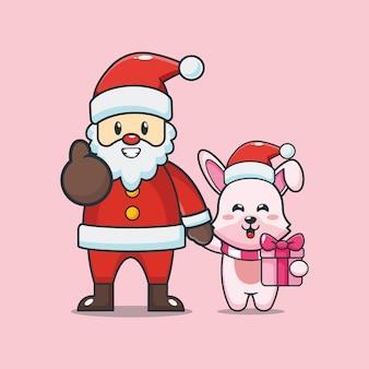 크리스마스 날에 산타 클로스와 귀여운 토끼 귀여운 크리스마스 만화 그림