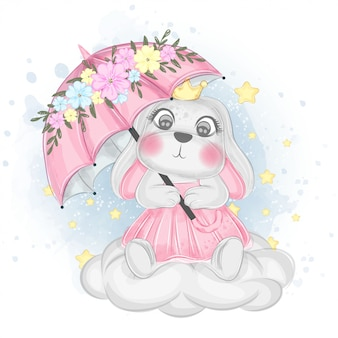 Cute bunny with umbrella over the sky   watercolor illustration
