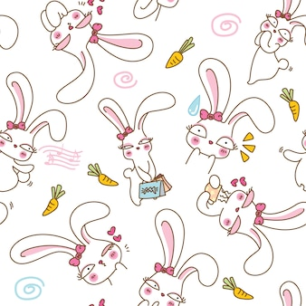 Cute bunnys seamless pattern background