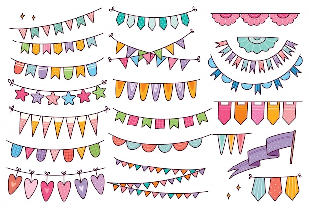 Cute bunting flag in doodle style