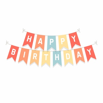 Cute bunting flags with letters happy birthday.