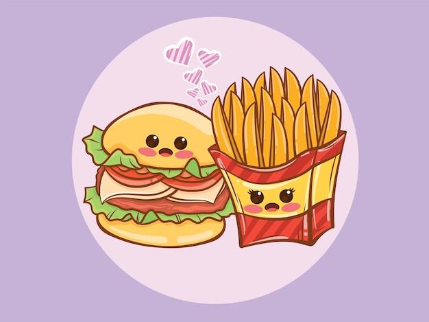 귀여운 햄버거와 감자 튀김 몇 개념. 만화 캐릭터와 그림.
