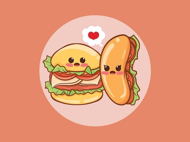 Милый гамбургер и концепция пара хот-дог. мультипликационный персонаж и иллюстрации.