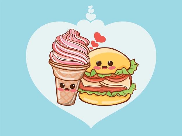 귀여운 햄버거와 아이스크림 몇 개념. 만화 캐릭터와 그림.