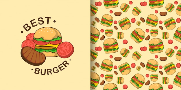 Cute burger animal seamless pattern with illustration baby card