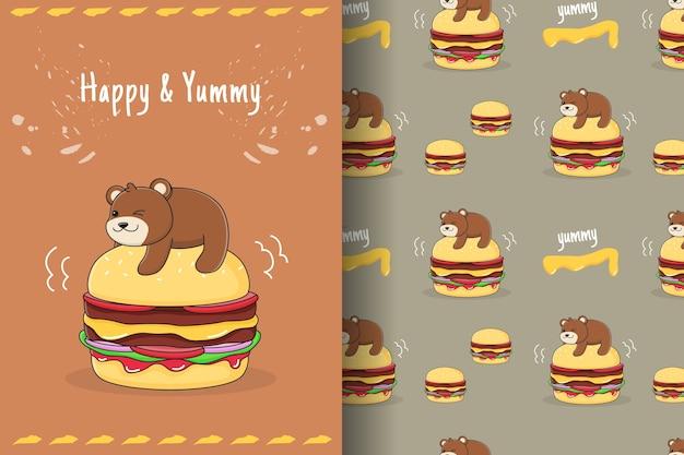 Cute burger bear seamless pattern and card