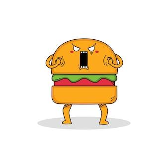 귀여운 햄버거 만화 캐릭터 충격
