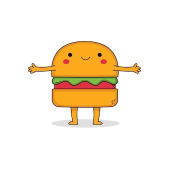 귀여운 햄버거 만화 캐릭터
