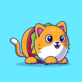 かわいいハンバーガー猫漫画アイコンイラスト。