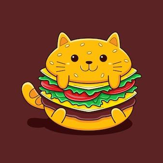 フラットな漫画スタイルのかわいいハンバーガー猫のイラスト。